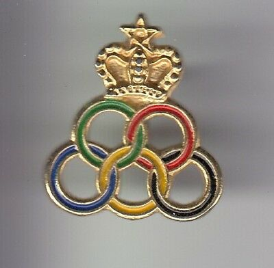 Rare Pins Pin's ..  Olympique Olympic Jeux Games Anneaux Couronne Team Maroc ~18