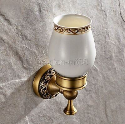 Antique Brass Carved Flower Bathroom Tooth Brush Holder With Ceramic Cup  fba497