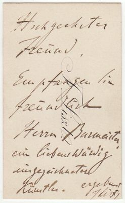 Franz Liszt (composer) – autograph letter signed on his personal visiting card