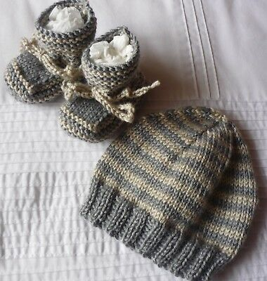 Beanie & Booties Set. Grey with Beige. Hand-knitted by me. Soft. Boy/Girl Baby