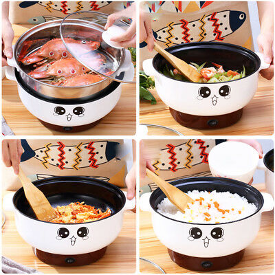 220V Stainless Steel Electric Skillet with Steamer Hot Pot Rice Cooker Soup Pot