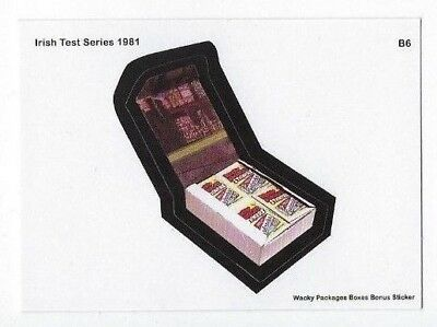 2018 Lost Wacky Packages Boxes Series Bonus Sticker B6 IRISH TEST SERIES 1981