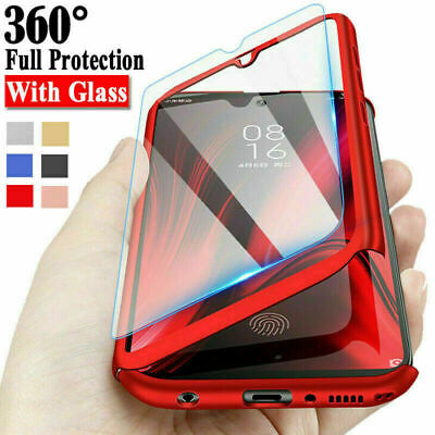 For Samsung J4 J6 J8 J3 J5 J7 360° Full Protective Phone Case + Tempered Glass