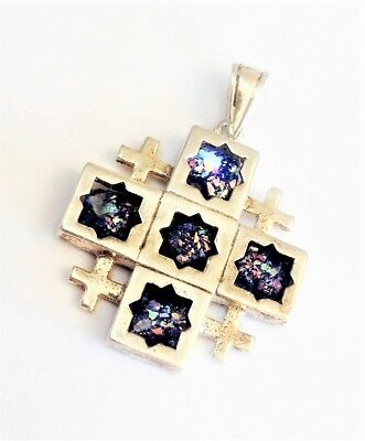 Sterling Silver Jerusalem Cross necklace and Ancient Roman Glass.Israeli Jewelry