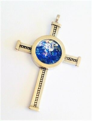 Sterling Silver  Cross necklace and Ancient Roman Glass.Israeli Jewelry