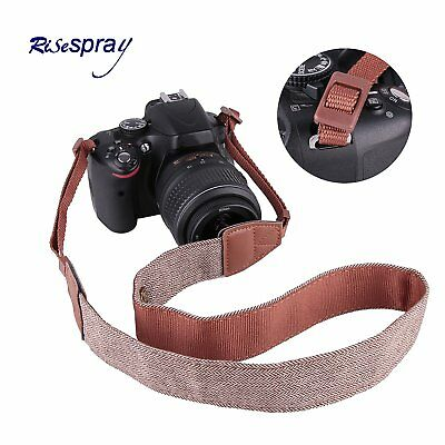 Camera Shoulder Neck Belt Cotton Strap Brown For DSLR Canon Sony Nikon Olympus