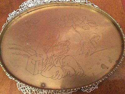 VINTAGE BRASS OVAL TRAY ETCHED JAPANESE SCENE . ARTS AND CRAFTS  heavy weight