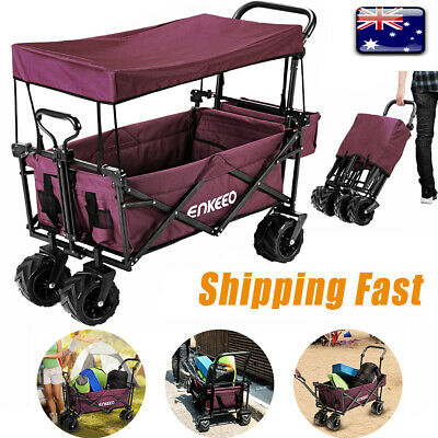 Large Collapsible Wagon Beach Trolley Outdoor Garden Camping Cart Hiking +Canopy