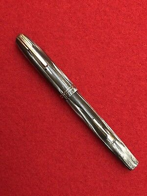Restored 1940's Waterman's Stalwart Fountain Pen Marble-gold trim-14k nib-Beaut!