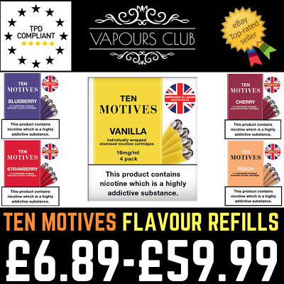 10 Ten Motives Fruit Flavour Refill Cartomizers 16mg | 5 Flavours In Stock | TPD