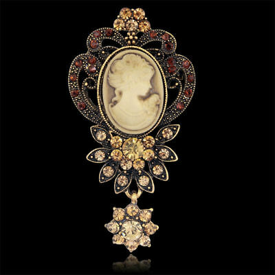 """GOLD PLATED LUXURY VICTORIAN STYLE CAMEO WITH FLOWER CRYSTALS 3"""" x 1 1/2"""""""