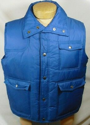 Vintage Sigallo Mens Blue Snap Button Nylon Waterproof Puffer Vest Pockets SZ L