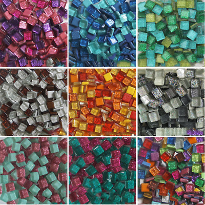 100g 1cm Square Glitter Shiny Crystal Glass Mosaic Tiles Hand Crafts Home Decor