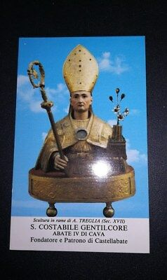 Santino Holy Card San Costabile Gentilcore Abate Castellabate Salerno Campania
