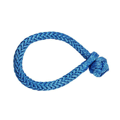 """Safety Synthetic Winch Rope Soft Rope Shackle 5/16"""" 12125Lbs Strength Blue"""