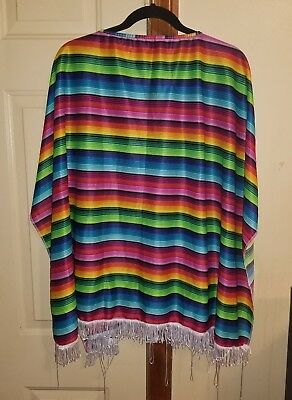 Womens Shall With Fringes / Mexican Poncho One Size Fits Most Rainbow Stripes