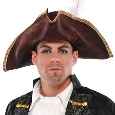 Notorious Pirate Party Tricorn Hat Accessory, Brown, Fabric