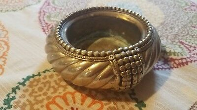 COOL Old Vintage SILVER PLATE / COPPER Small Round Ashtray!