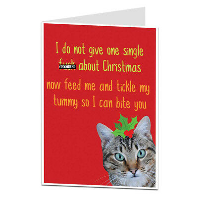 Funny Grumpy Cat Christmas Card Offensive Rude For Adults