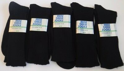 Vintage New Lot of 5 Pairs Mens Dress Socks Orlon Nylon Black Size 10-13