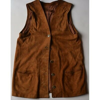 GILET DONNA PELLE  IN STILE TIROLESE Tg.44/46