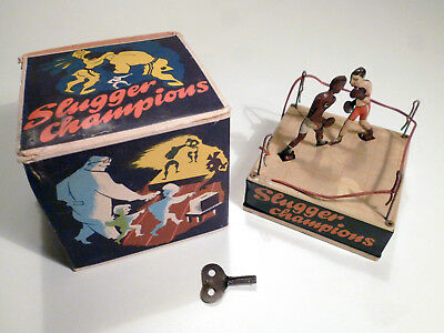BILLER Slugger Champions Boxer - Wind-Up Tin Toy - U.S.-Zone Germany - Schmeling