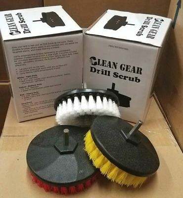 "Clean Gear Drill Scrub 5"" Brush Set - Upholstery, Stairs, Grout & More"