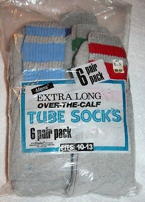 6 Pr Vintage 70s KMart Gray STRIPED Extra Long TUBE Socks Rayon Blend NOS 10-13