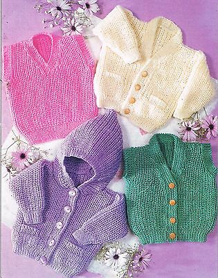 BABY KNITTING PATTERN, DK, Easy to knit 6 sizes, inc newborn.coat,hood,cardigan.