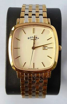 0e0fdd9c22ba Rotary Men s Windsor Square Gold Plated Two Tone Bracelet Watch GB02401 02  17cm