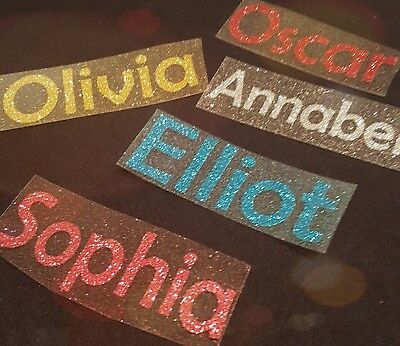 Personalised Name/Word GLITTER Iron On Transfer for t-shirts, bags.
