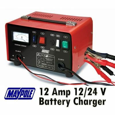 New Maypole MP716 12A Metal Battery Charger 12/24V Fast/Boost Mode Robust Steel