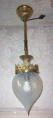 Antique Brass Palm Frond & Floral Pendant Light Ceiling Fixture with Optic Shade
