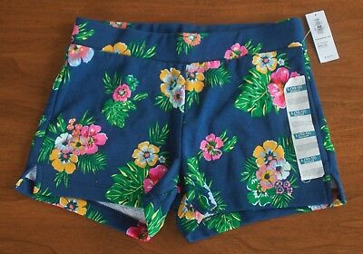 Old Navy NWT Girls L 10-12 Blue Floral Patterned Tropical French Terry Shorts
