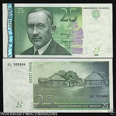 Estonia 25 Krooni P87 B 2007 Euro Unc Money Log Construction Bill Bank Note
