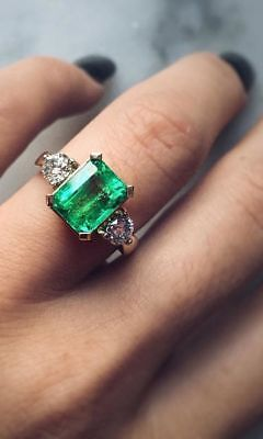 Art Deco 4 Ct Emerald Stone Vintage Antique Wedding Ring 925 Sterling Silver
