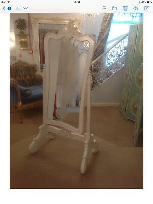 French Style Carved Wood Antique Reproduction Cheval Mirror. Two Available.