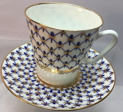 LOMONOSOV ( RUSSIAN IMPERIAL) Porcelain NET BLUE & WHITE COFFEE CUP SAUCER