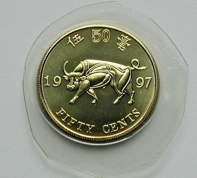 1997 HONG KONG Coin - 50 Cents - in plastic - cut from mint set - year of the ox