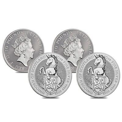 Roll of 4 - 2019 Great Britain 10 oz Silver Queen's Beasts (Unicorn of Scotland)