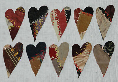 10 Primitive Antique Vintage Cutter Crazy Quilt Hearts! Crafts, Scrapbooking #11