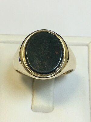 Superb Large Vintage 9 Carat Yellow Gold GENTS BLOODSTONE SET Ring B/Ham 1957