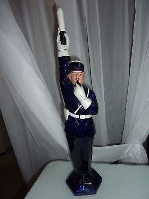 Antique Figural Glass Bottle – French Policeman – Colbalt Blue