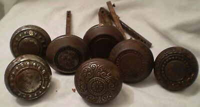 Vintage Antique Door Knobs Handle Embossed Metal Round 7 Count
