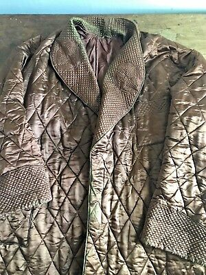 Antique Victorian Long Mens Quilted Robe