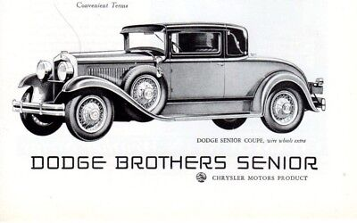 Vintage print auto car ad Dodge Brothers Senior Coupe wire wheels deco art ad