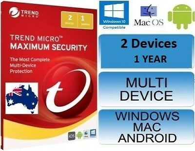 Trend Micro Maximum Security 12 ( 2018 ) 1 Years Licence | 2 Devices