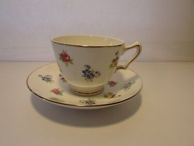 Crown Staffordshire England Rose Pansy Bone China Cup And Saucer