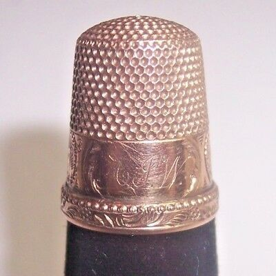 Vintage Unmarked Gold Sewing Thimble, Monogrammed Building Scenes Size 8 Nr