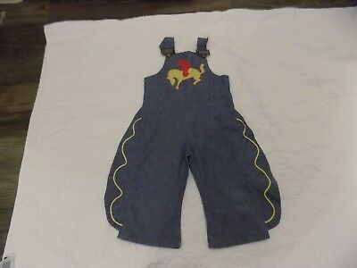 Vintage JCPenney Toddle Time Kids Denim Cowboy Cowgirl Rodeo Overalls Size 4